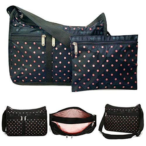 LeSportsac Rose Speckle Dot Deluxe Everyday Crossbody Bag + Cosmetic Bag, Style 7507/Color D955
