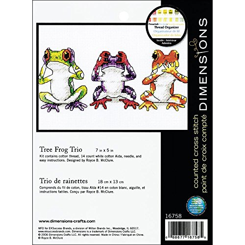 Jiffy Treefrog Trio Mini Counted Cross Stitch Kit: 7x5