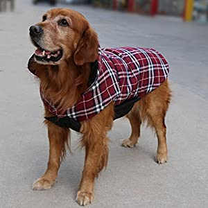 REXSONN® Pet Dog cats Cozy Waterproof Windproof Jacket Winter Warm Apparel Grid Plaid Reversible Coat Coats for small Puppy medium large dogs