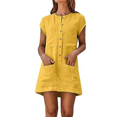 mejor selección de rebajas(mk) 100% de alta calidad Vestidos de Mujer Casual Cortos, MINXINWY Vestidos de Verano Mujer 2019  Vestido de Playa Vestido de algodón Lino botón Faldas Cortas Vestido de ...