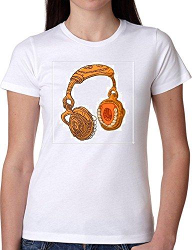 T SHIRT JODE GIRL GGG22 Z0774 HEADPHONES TEETH CREEPY MUSIC FUNNY FASHION COOL BIANCA - WHITE M