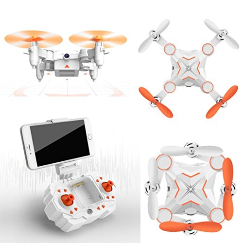 Livoty M1 Mini Foldable 2.4G 4CH 6Axis RC A key return Quadcopter Drone HD FPV 3MP (Orange)