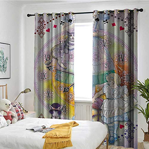 (TRTK Bedroom Curtains Bedroom Room Dark Blackout Curtain Room/Children's Room in Wonderland,Magical Fantasy World of Adventure Clock Flamingo Cheshire Cat Rabbit Retro,Multi)