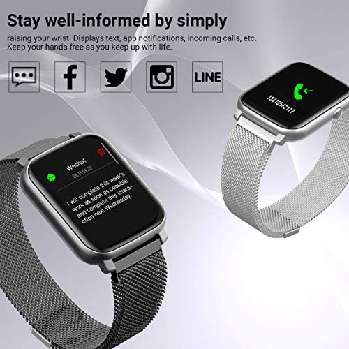 Anmino Smart Watch with Heart Rate Monitor BP Fitness Tracker IP68 Waterproof Activity Tracker Full Touch Screen Smartwatch Sleep Monitor Calorie Step Counter SMS Call Notification(Black Steel) 51Ck 2B0ss4pL