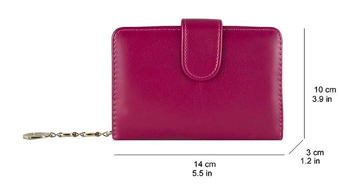 Billetera para mujer pequeña cremallera monedero Tarjeta de crédito PU ID moda de cuero de negocios (rosa): Amazon.es: Equipaje