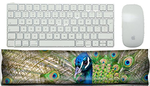 MSD Keyboard Wrist Rest Pad Office Decor Wrist Supporter Pillow IMAGE 22635999 Colorful Blue Ribbon Peacock in full feather color saturated]()