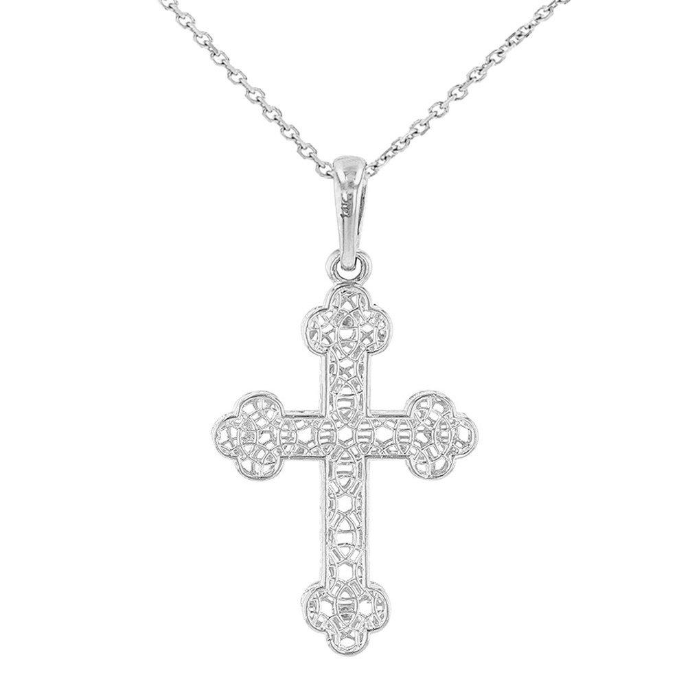 14K White Gold Filigree Eastern Orthodox Cross Charm Pendant Necklace, 16''