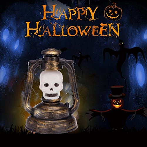 Halloween Decoration Portable Jack O Lantern Battery Powered Retro Style LED Light 6.5 x 5 Inch for Kids Hanging Indoor Outdoor Holiday Festival Party Decor - Skull (Halloween Jack O Lantern Designs)