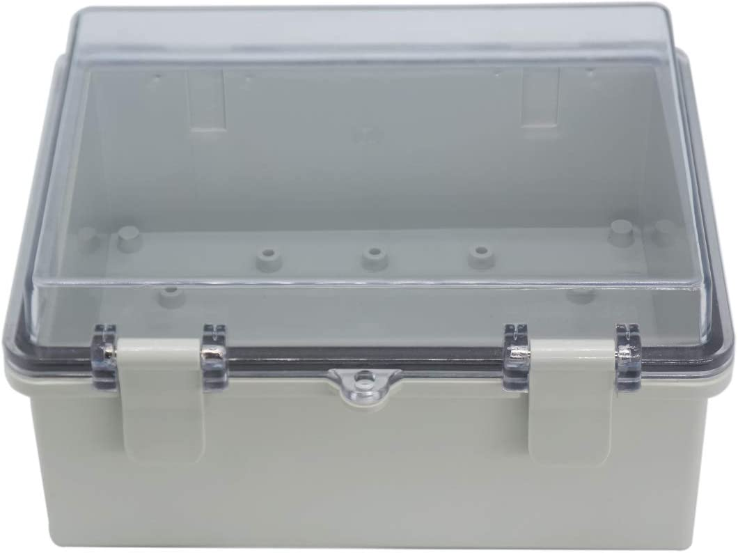 Raculety Junction Box IP65 Dustproof Waterproof ABS Plastic Project Box Hinged Shell Universal Electrical Enclosure Clear Cover with Lock 8.67 x6.69 x4.33inch(220 x170 x110mm)