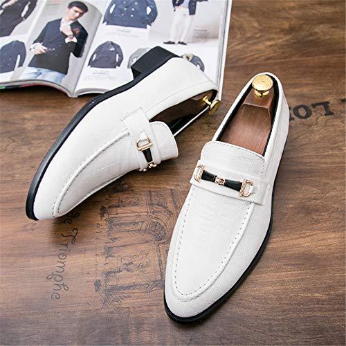 stile Flat 38 Scarpe Scarpe Oxford Slip Casual On Bianca da Color inglese Flat Ofgcfbvxd Fashion Dimensione cerimonia EU Bianca Men's TWq478E