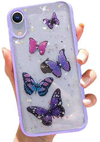 Butterfly Bling Clear Case Compatible with iPhone XR,wzjgzdly Glitter Case for Women Cute Slim Soft Slip Resistant Protective Phone Case Cover for iPhone XR 6.1 inch - Purple