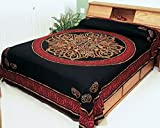 Red & Black Celtic Knot Indian Bedspread, Queen Size