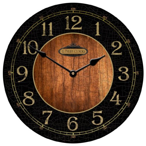 Rustic Black & Wood Wall Clock, Available in 8 sizes, Whisper