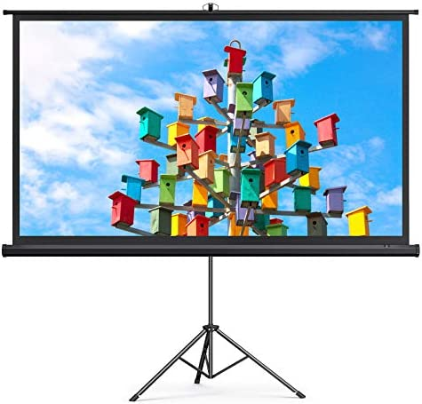 TaoTronics Projector Screen with Stand, 120 inch Projector Screen 4K HD with Wrinkle-Free Design, Outdoor Projector Screen for Backyard Movie Night( 1.1Gain, 4:3,160° Viewing Angle & A Carry Bag)