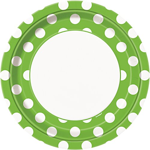 Lime Green Polka Dot Paper Plates, -