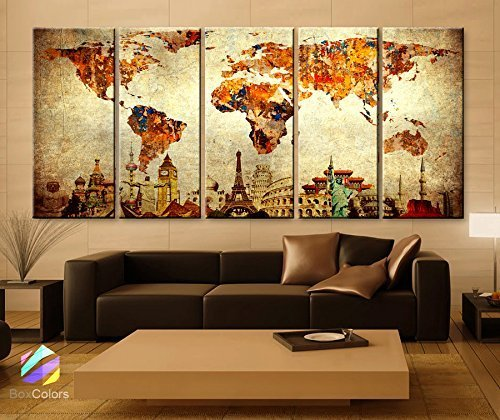 Original by BoxColors Xlarge 30''x 70'' 5 Panels 30x14 Ea Art Canvas Print Original Wonders of the World Old Paper Map Vintage Wall Decor Home Interior (Framed 1.5'' Depth) by BoxColors