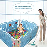 Baby Playpen Kids Activity Centre New Style Safety Play Yard Home Indoor Outdoor With 12 panel (Cookie house) (12 panel)