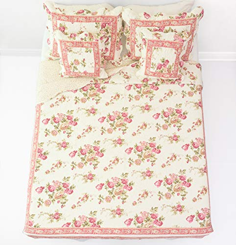 DaDa Bedding French Country Bedspread Set - Cottage Floral Roses Quilted Coverlet - Multi Color Mauve Pink - Queen - 5-Pieces