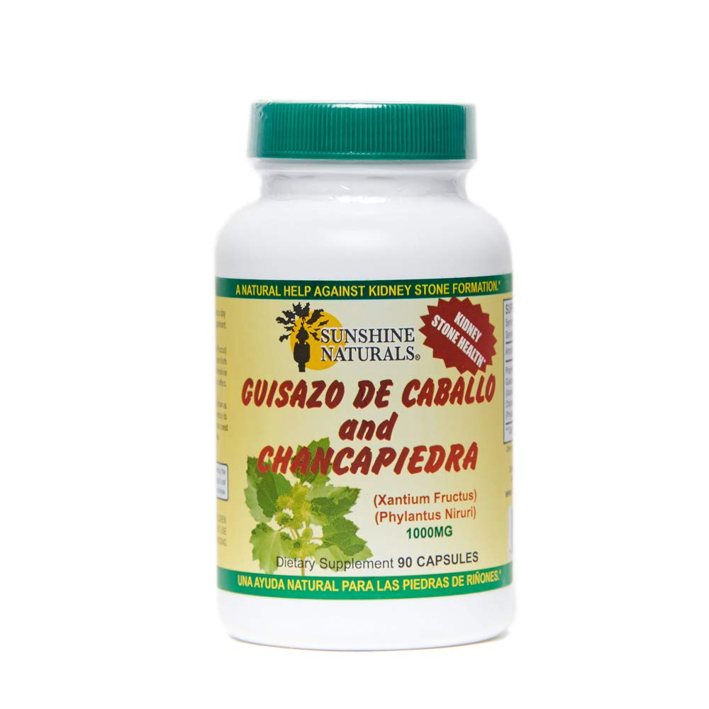 Sunshine Naturals Guisazo de Caballo and Chancapiedra Dietary Supplement. Stonebreaker. For Kidney and Urinary Tract Cleansing and Detoxifying. 90 Capsules
