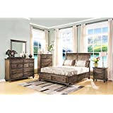 Fortuna Sleigh Eastern King 5 Piece Bedroom Set with 2 Nightstands in Weathered Brown Finish