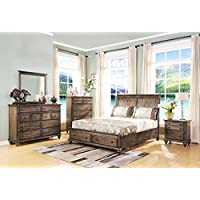 Fortuna Distressed Brown 5 Piece Queen Bedroom Set with 2 Nightstands