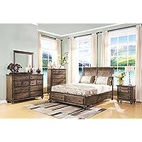 Fortuna Distressed Brown 5 Piece Queen Bedroom Set with 2 Nightstands