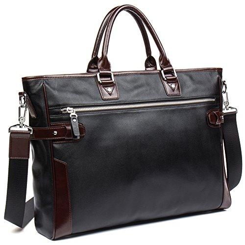 NEW SALE! Men Women Briefcase Cowhide Travel Work Business Bags 15'' Laptop Shoulder Bag - MANTOBRUCE by MANTOBRUCE