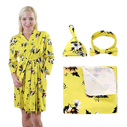 4 Pack Maternity Dress and Baby Swaddle Blanket with Hat Headband Set, Stretchy Knitted Floral Nursing Robe and Matching Receiving Blankets, Perfect Gift for Mummy and Baby (Yellow Flower, L)