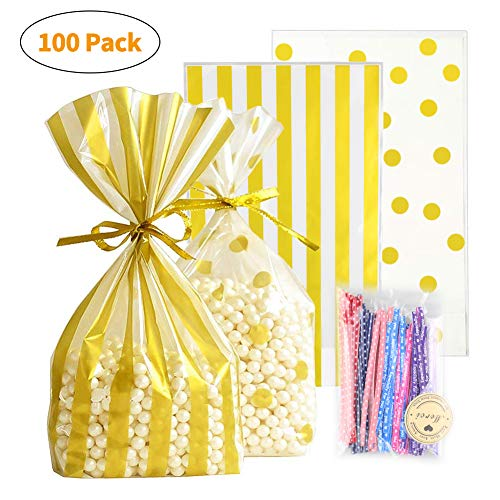 UUSHER Treat Bags with Ties, Gold Candy Favor Bags 6