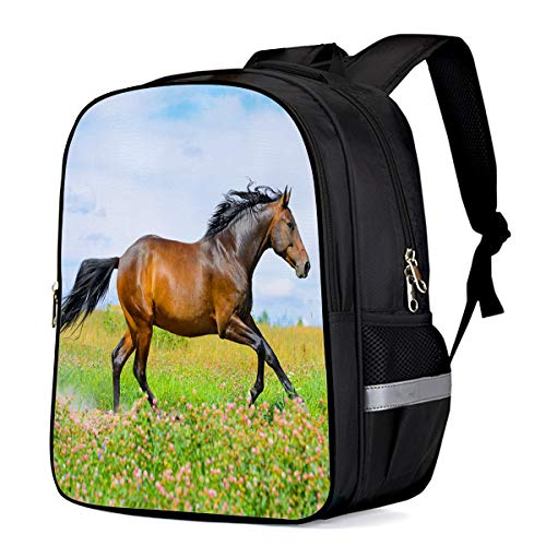 (School Backpack for Boys/Girls/Kindergartener A Horse Galloping on the Flower Meadow Personalized 3D Printed Kids Shoulders Bag Bookbag Lunch Bag Travel Daypack Small)