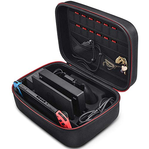 Retear Carry Case for Nintendo Switch,Game Traveler Deluxe Hard System Storage Carrying Case with 18 Game Cartridges for Switch Console & -