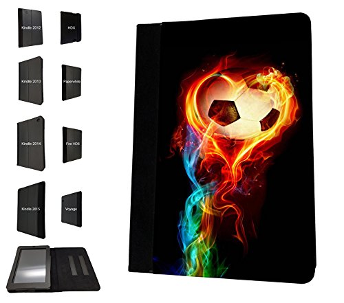 1484 - Cool Fun Trendy sports goal soccer football fire win champions Design Amazon Kindle Fire 7'' 5TH Generation (2015 Release Only) Fashion Trend TPU Leather Flip Case Protective Purse Pouch Book Style Defender Stand Cover