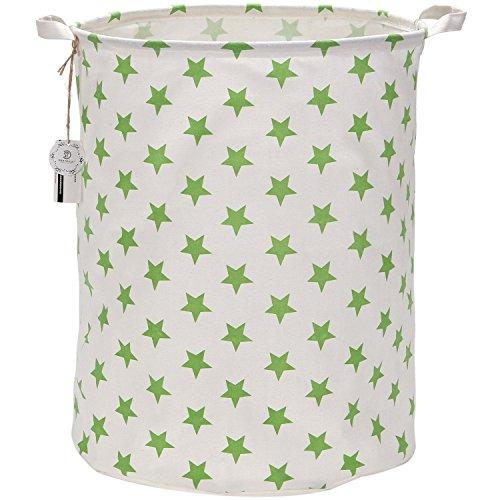 Sea Team 19.7 Large Sized Waterproof Coating Ramie Cotton Fabric Folding Laundry Hamper Bucket Cylindric Burlap Canvas Storage Basket with Stylish Greenery Stars Design
