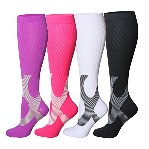 Compression Socks For Women and Men - 20-25mmHg- 4 Pairs BEST Stockings for Running, Athletic, Edema, Diabetic, Varicose Veins, Travel, Pregnancy & Maternity (S/M, Mix, 4 Pairs)