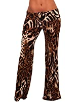 Women's Casual Tropical Ice Ruched Low Rise Long Flare Leg Palazzo Pants