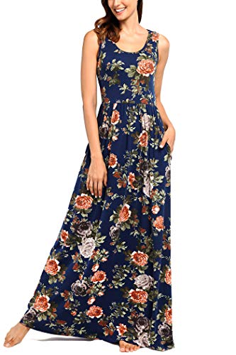 Comila Summer Dresses for Women with Pockets, Elegant Classic Floral Petite Maxi Dress Bohemian Holiday with no Split A Line Slim Fit Dress Dark Blue L (US 12-14)