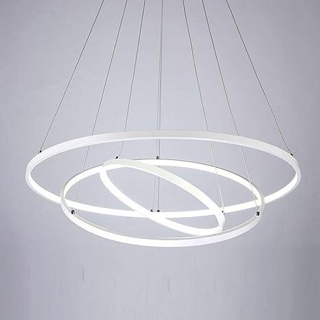 HanLinLight - Lámpara LED de techo colgante con diseño circular de 3 anillos. - Lámpara de LED de 72 W en color negro. - Para techo de dormitorio, ...