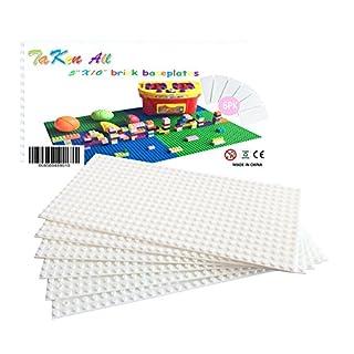 "Building Bricks Block Base Plate - White 6 Pack of 5""X10"" Baseplates - Compatible Major Brands Building Block Toys"