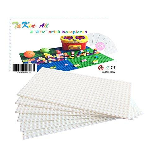 Building Bricks Block Base Plate - White 6 Pack of 5X10 Baseplates - Compatible Major Brands Building Block Toys