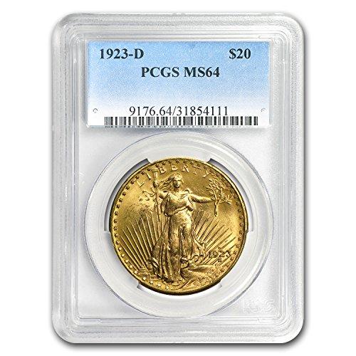 - 1923 D $20 St. Gaudens Gold Double Eagle MS-64 PCGS G$20 MS-64 PCGS