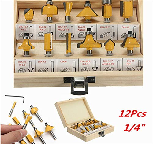 Dartphew 12PC 1/4'' Professional Shank Tungsten Carbide Router Bit Set with Wood Box Case Cutters for Decorative Woodworking widely Used Professional Electric Drill Bench MDF Board Hardwood softwood ()