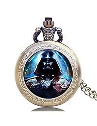 Men's Pocket Watch, Star Wars Darth Vader, Chain Bronze Men Vintage Quartz Necklace Pendant Pocket Watches, Unique Gift for Men