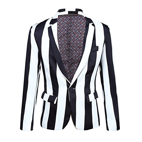 CARFFIV Mens Fashion Colorated Floral Print Suit Jacket Casual Blazer (Black and White Stripes, XXL/46R)