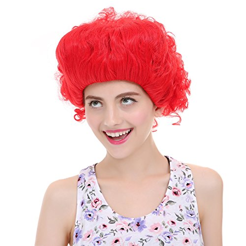 The Queen Wig - Angelaicos Womens Prestyled Fluffy Red Queen Wig Short Red
