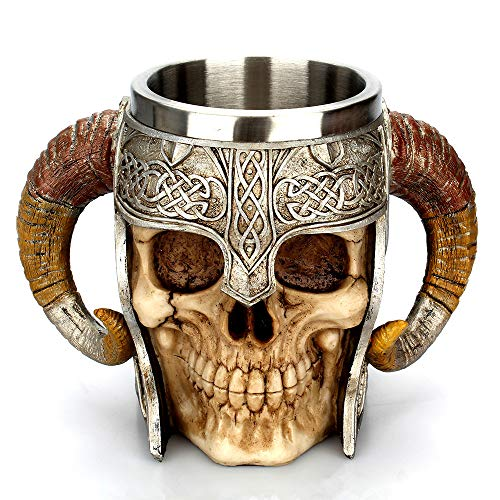 Newkelly Resin Striking Warrior Tankard Viking Skull Coffee Mug Double Wall Christmas Cup ()
