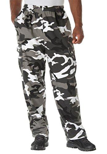 Boulder Creek Men's Big & Tall Thermal-Lined Fleece Cargo Pants, Steel Camo
