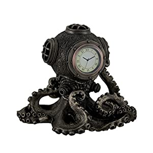 Bronze Finish Steampunk Octopus Diving Bell Clock Statue by Zeckos