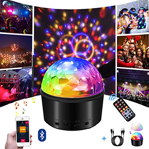 - Party Lights,Disco Ball Sound Activated with Remote Control DJ Light, 9 Colors Effect Projector LED Stage Light Bluetooth Connection Night Light for Kids Bedroom/Party/Wedding/Birthday/Dance/Show/