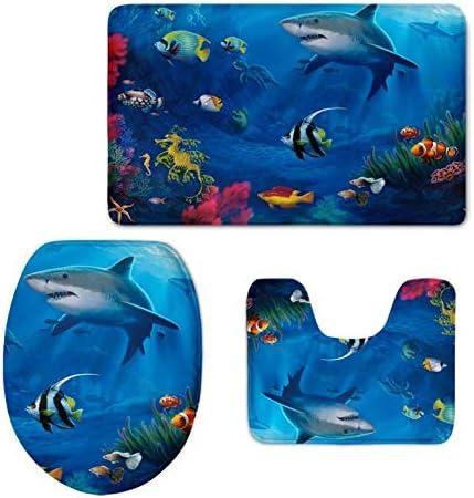UZZUHI 3 Piece Shark Tropical Fish Underwater World Print Area Rug Doormat Carpet Bathroom Rug Set