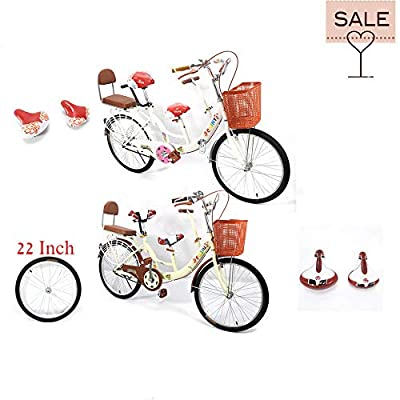 SHZICMY 22'' Tandem Bike Safe Stable Parents Child Kids Bicycle 3 Person Seat Family Bicycle with Basket Yellow/White (USA Stock)